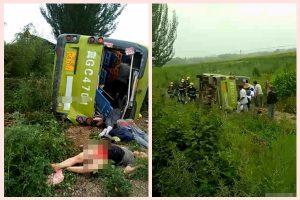 河北巴士撞貨車20死傷 現場散布屍體(視頻)