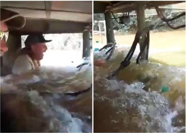 哈维肆虐德州 小货车如潜水艇救受困居民