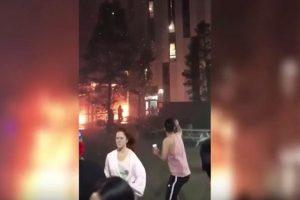 英国曼大学生宿舍大火 目击者大呼快逃