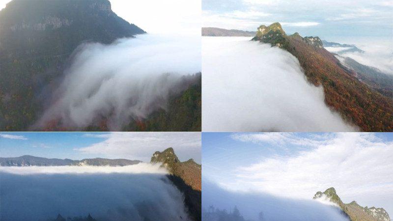 神农架惊现云海瀑布 宛如仙境
