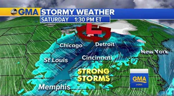 风暴周末将抵美东 恐影响感恩节出行