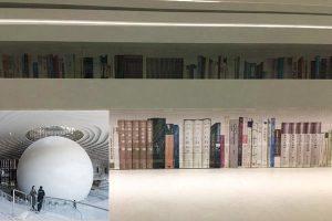 天津濱海圖書館「 書山」無書 貼假書背景做障眼法