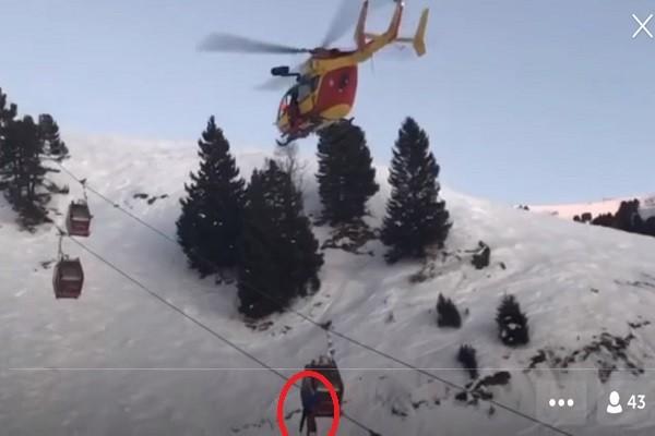 法150名滑雪客受困缆车 直升机救援影片曝光