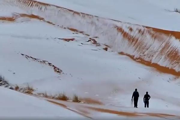 撒哈拉沙漠罕見降雪 深達40公分