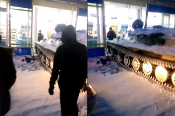 为了一瓶酒 俄男竟开战车撞超市