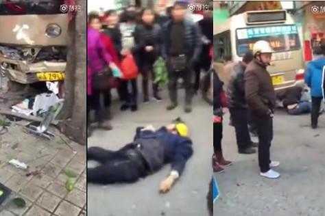 福建一辆客车冲向人群 多人被辗压疑4死6伤(视频)