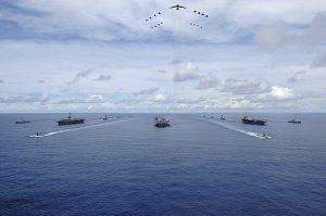 美航母現身南海  針對中共軍演?