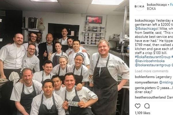 超滿意收穫!美國男子用餐後 走進廚房給員工小費
