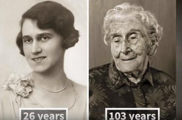 看这些人年轻时和100岁时的照片(视频)