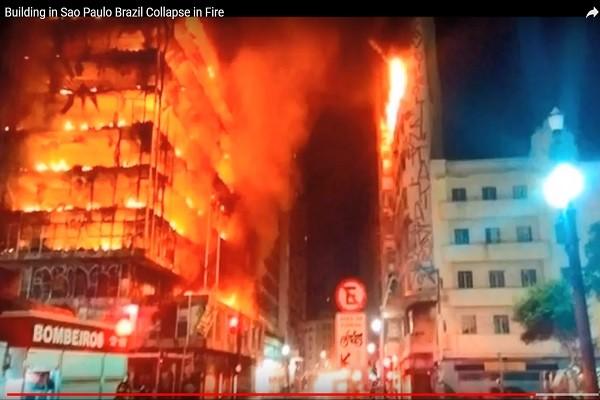 巴西圣保罗荒废大楼火灾 火噬倒塌酿1死3伤