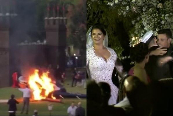欲空降婚礼现场却意外坠机 巴西新娘爬出残骸继续结婚