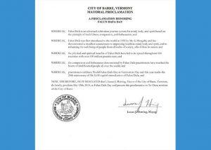 美国佛蒙特州巴尔市长褒奖法轮大法
