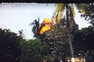 古巴客机坠毁瞬间 爆炸大火球场面惊悚