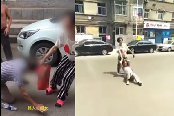 山西女当街打母扯发拖行 引发众怒遭群殴(视频)