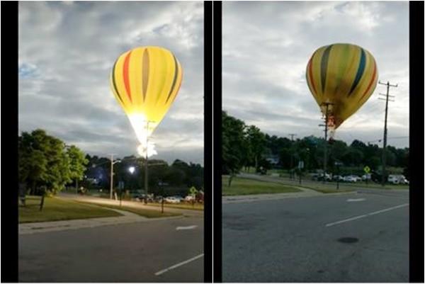 好驚險!熱氣球撞電桿起火 乘客奇蹟般未受傷