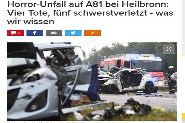 德国西南部10车连环追撞 至少4死数人伤