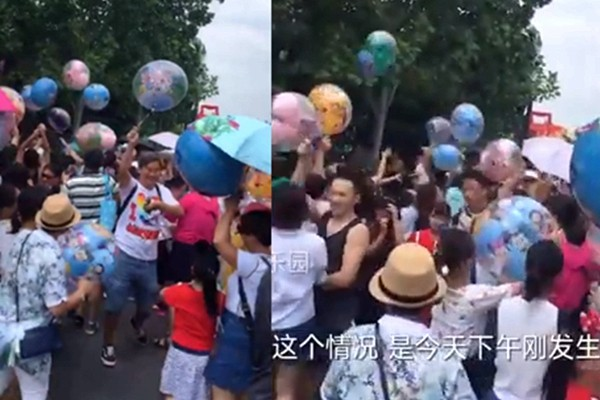 上海迪士尼氣球被哄搶 網友:丟人丟到家了(視頻)