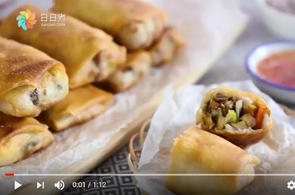 芋蓉素春卷 簡單素菜1分鐘學會(視頻)
