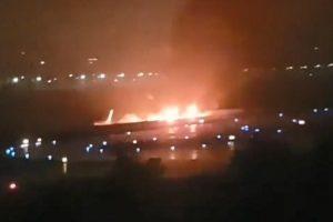 俄客机降落索契 冲出跑道陷火海1死18伤(视频)