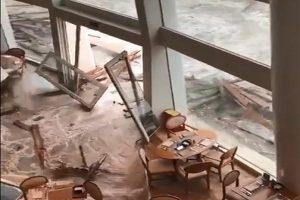 强台山竹直扑广东 工程船抛锚 深圳海水倒灌(视频)