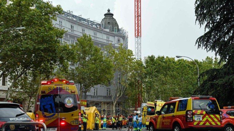 马德里丽思饭店施工铁架倒塌 酿1死11伤