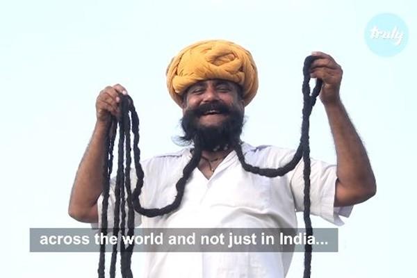 33年蓄鬚6.7米 印度男子每天花3小時打理