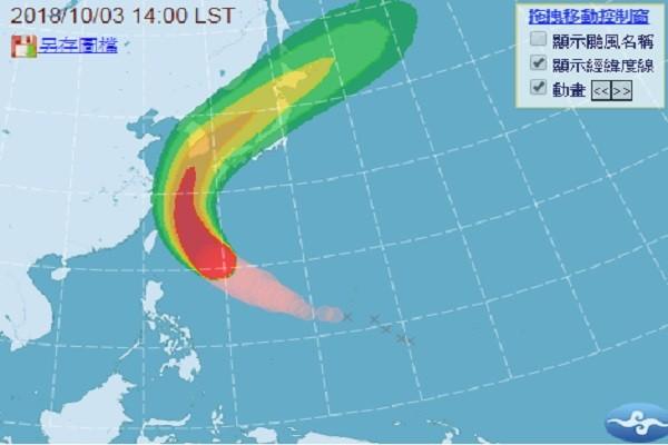 康芮減弱為中颱 如曲棍球般北上影響韓日