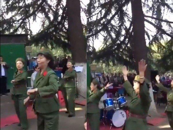 中國大媽墨爾本扮紅衞兵跳文革舞 網友:邪靈附體