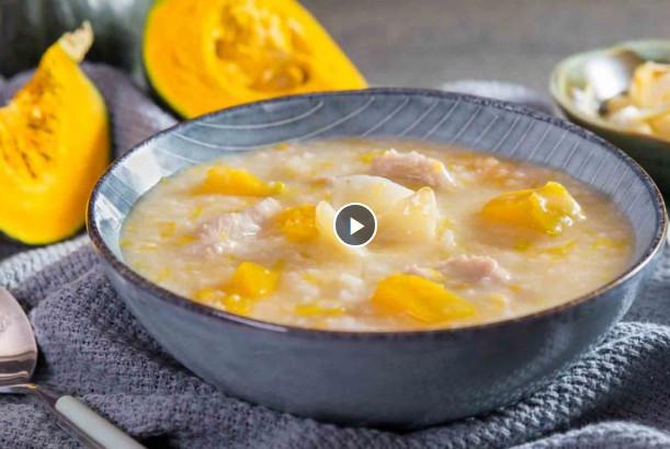 南瓜百合瘦肉粥 味道清甜又健脾(视频)