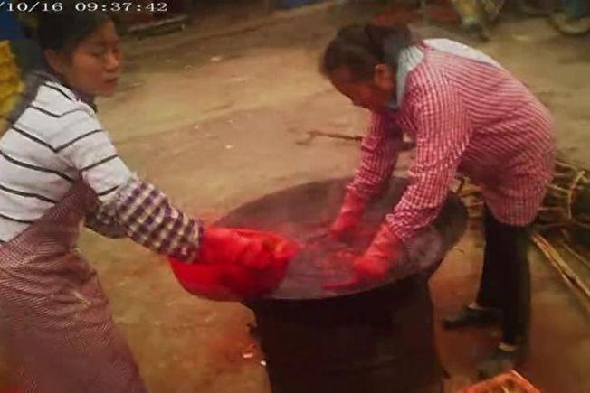 """官员充当""""保护伞"""" 万吨柿饼被违禁""""染色""""出售"""