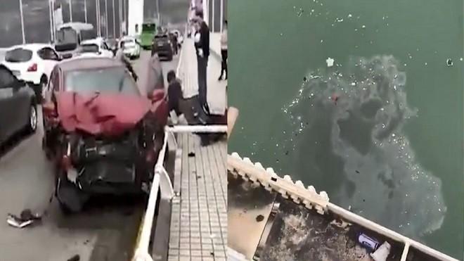 重庆大巴闪轿车 冲破护栏坠长江 死伤不明(视频)