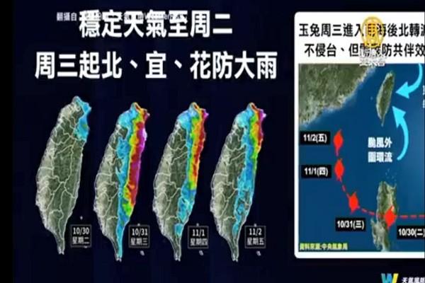 中台玉兔环流影响台湾 一张图看共伴效应范围