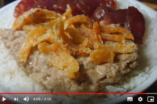 虾干腊肠蒸肉饼饭(视频)