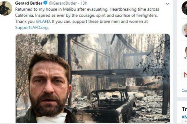 """加州野火令人心碎 """"300壮士""""男星豪宅烧到只剩钢筋"""