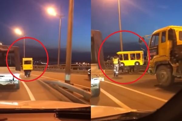 奇葩男假扮「小巴」闖上橋 遭警衛圍堵轉向逃跑