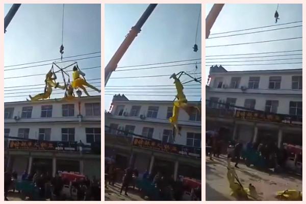 河南4杂技艺人高空表演时坠地  当场吐血昏迷(视频)