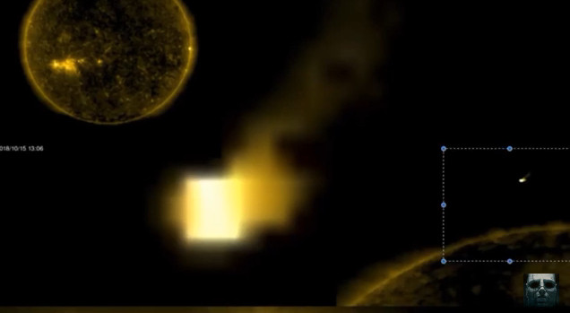 它又回来了!神秘立方体UFO又现太阳周边(视频)