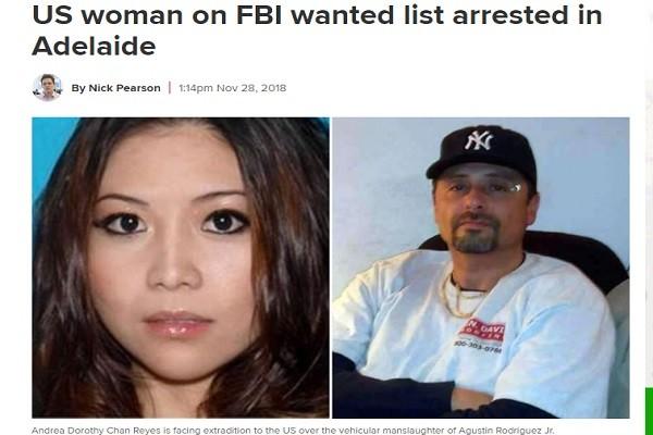FBI全球通緝令 美籍華裔女撞死人逃至澳洲被捕