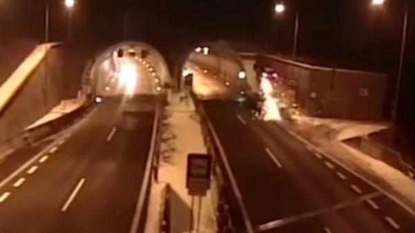 BMW冲天翻360度坠进隧道 警:驾驶睡着了