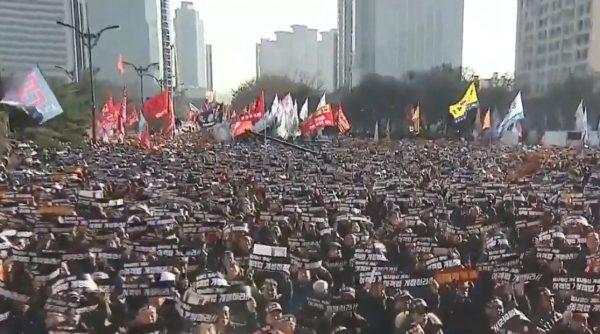 抗議共乘車App服務 韓國10萬司機集會抗議