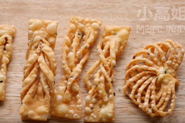 炸麻叶 传统翻花 一学就会(视频)