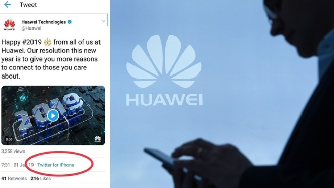 華為官方也愛蘋果?用iPhone發賀年推文網絡大嘩