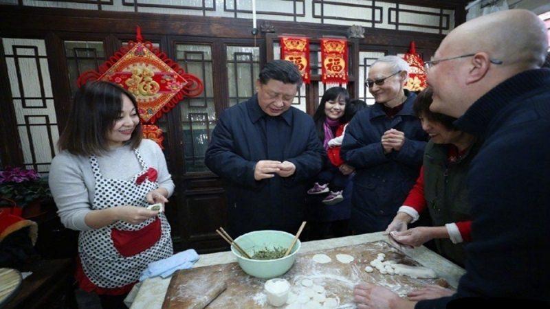 习近平现身北京前门包饺子引围观