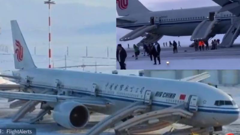 """中国客机迫降俄罗斯 空姐惊呼""""快跑!""""(视频)"""