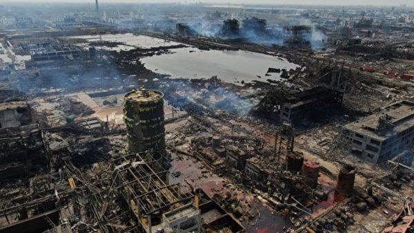 太空看江蘇慘烈爆炸:巨坑清晰可見 逾30棟樓炸毀