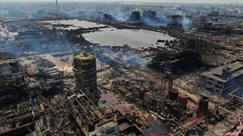 太空看江苏惨烈爆炸:巨坑清晰可见 逾30栋楼炸毁