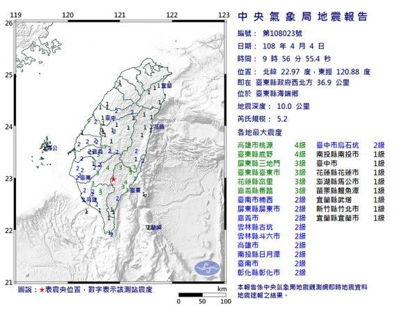 台東有感餘震頻發最強5.2級 同屬一個地震帶