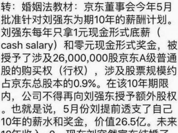 劉強東夫婦婚前協議曝光 若離婚章澤天只分5元