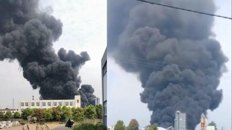 江苏又爆炸 厂房滚滚黑烟直窜天际 有人烧伤