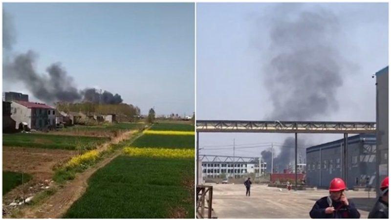 江蘇響水爆炸區再出事 一倉庫自燃黑煙騰空